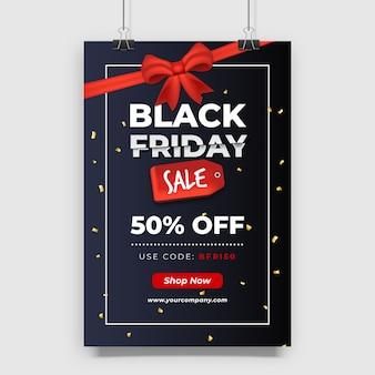Conception d'affiche de vente vendredi noir dégradé avec ruban