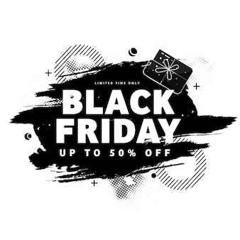 Conception d'affiche de vente vendredi noir avec offre de réduction de 50 % et effet de pinceau sur fond blanc.