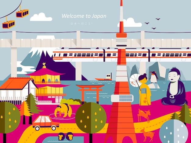 Conception d'affiche de voyage au japon moderne avec des points de repère