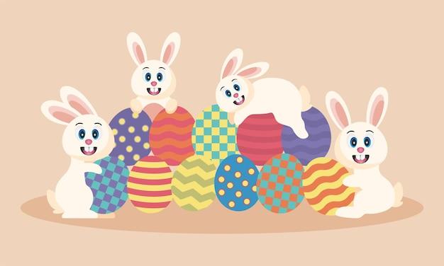 Conception d'affiches, de bannières et de papiers peints de joyeuses pâques avec un lapin mignon vecteur premium