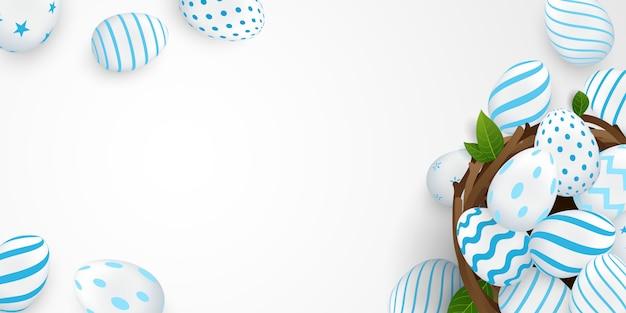 Conception d'affiches et de bannières de pâques avec des oeufs de pâques dans un nid magnifiquement aménagé. pour l'illustration de pâques
