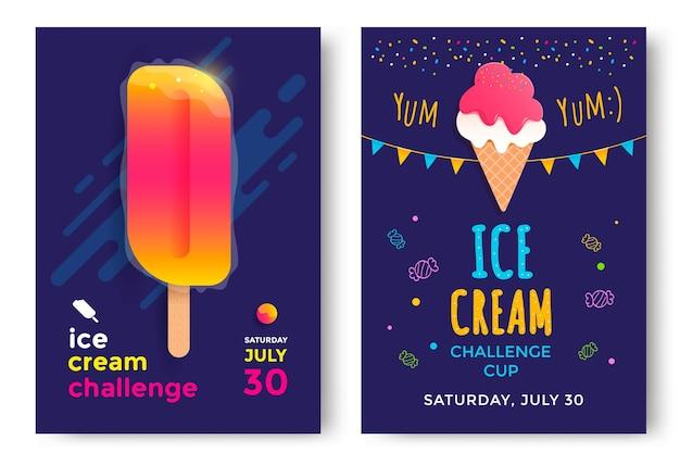 Conception d'affiches de coupe de défi de crème glacée. modèle vectoriel