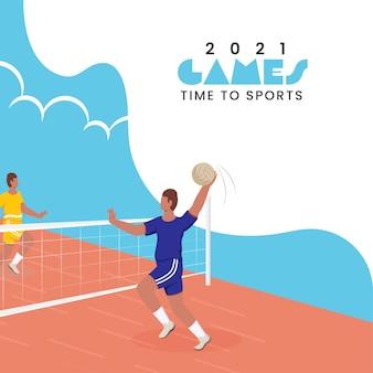 Conception d'affiches de l'heure des jeux de 2021 avec des hommes d'athlétisme jouant au volley-ball sur une aire de jeux.