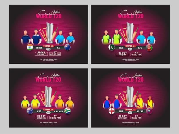 Conception d'affiches mondiales de cricket t20 avec l'équipe des pays participants et l'équipement de tournoi 3d sur la vue du stade rose en quatre options.