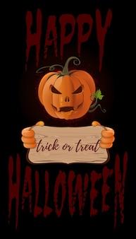 Conception d'affiches pour halloween. jack-o-lanterne avec un sourire menaçant. joyeux halloween lettrage. la charité s'il-vous-plaît. illustration vectorielle