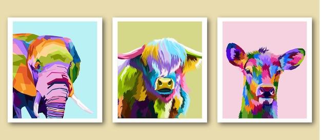 Conception d'affiches premium de portrait de pop art imprimé animal mammifère coloré