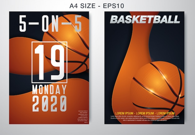 Conception d'affiches de sports modernes de tournoi de basket