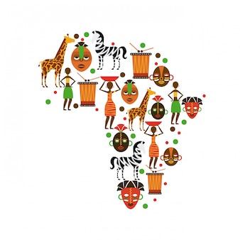 Conception de l'afrique au cours de l'illustration vectorielle fond blanc