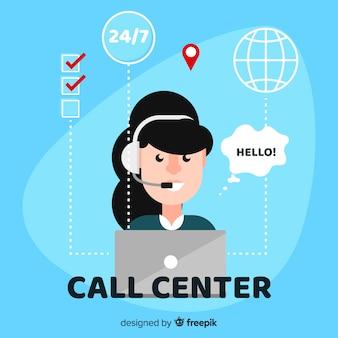 Conception d'un agent de centre d'appel féminin