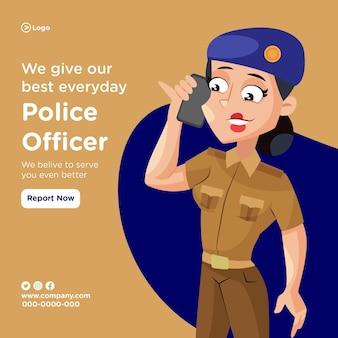 La conception de l'agent de police donne le meilleur de nous-mêmes chaque jour avec une femme de police parlant au téléphone
