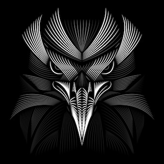 Conception d'aigle. style linogravure. noir et blanc. illustration de la ligne.