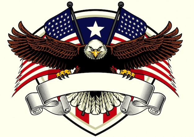 Conception de l'aigle à tête blanche tenant le ruban blanc avec drapeau usa