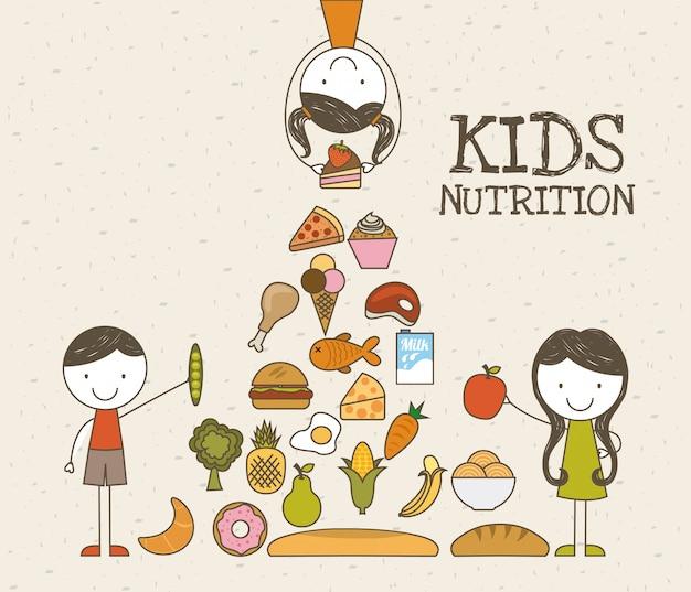 Conception des aliments au cours de l'illustration vectorielle fond beige