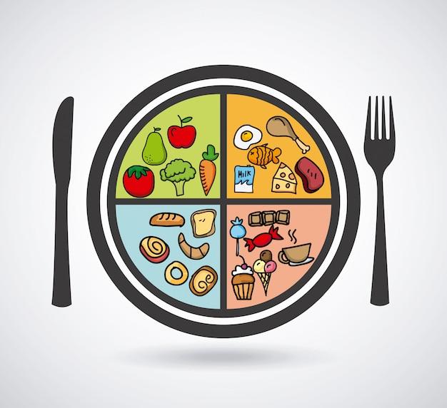 Conception des aliments au cours de l'illustration vectorielle fond blanc