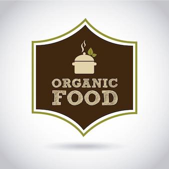 Conception d'aliments biologiques au cours de l'illustration vectorielle fond gris