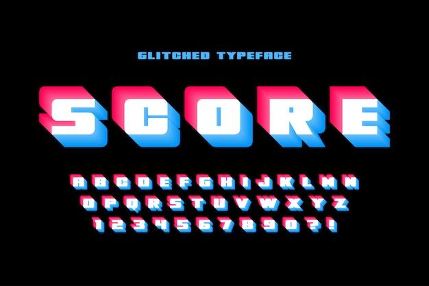 Conception d'alphabet d'affichage moderne glitched, police de caractères, lettres