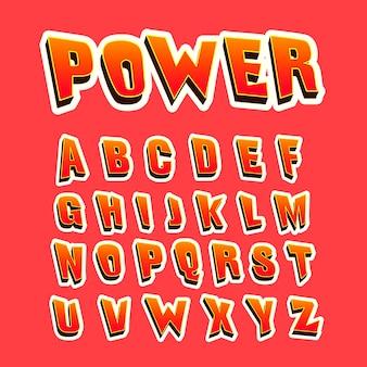 Conception d'alphabet comique 3d