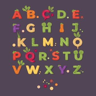 Conception d'alphabet de légume sur un fond sombre. illustration.