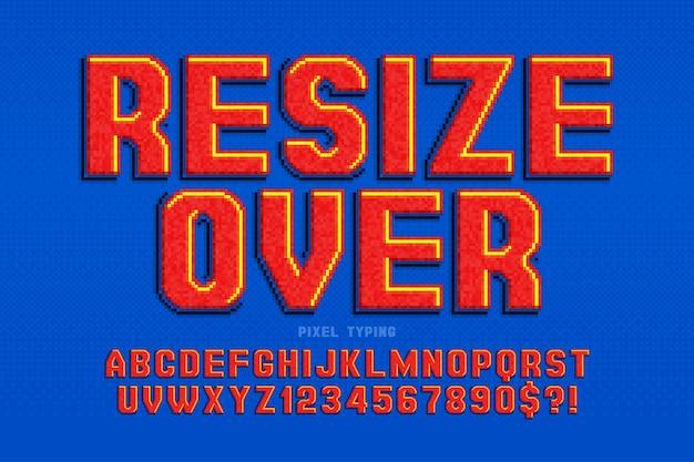 Conception de l'alphabet pixel stylisé comme dans les jeux 8 bits contraste élevé et rétro-futurisme net contrôle facile de la couleur de l'échantillon effet de redimensionnement