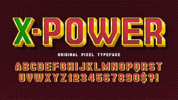Conception de l'alphabet pixel stylisé comme dans les jeux 8 bits rétrofuturisme à contraste élevé contrôle facile des couleurs des échantillons
