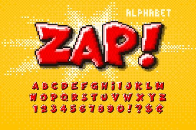 Conception d'alphabet pixel, stylisée comme dans les jeux 8 bits. contraste élevé, rétro-futuriste.
