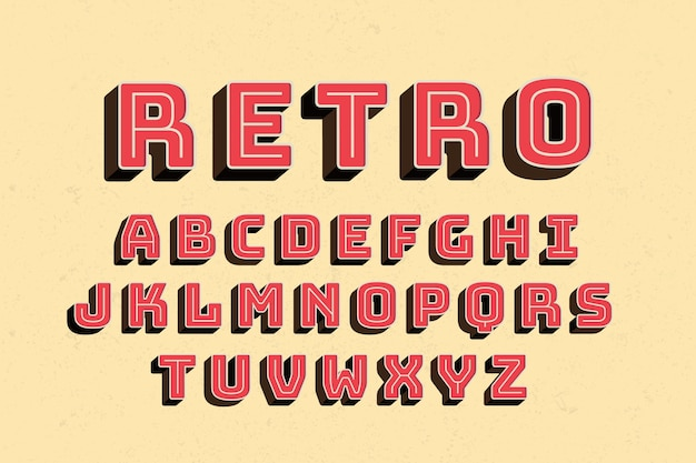 Conception de l'alphabet rétro 3d