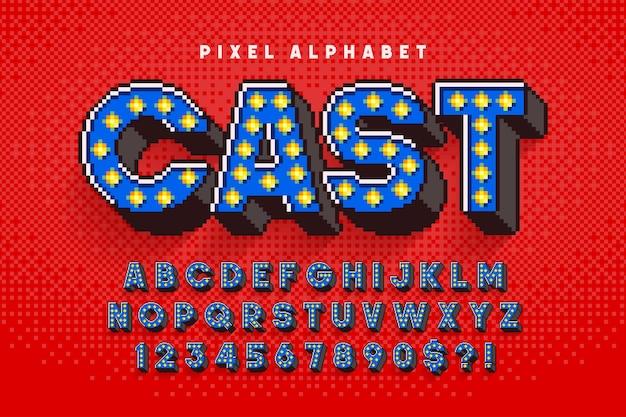 Conception d'alphabet de spectacle pixel broadway, stylisée dans le style de jeux 8 bits