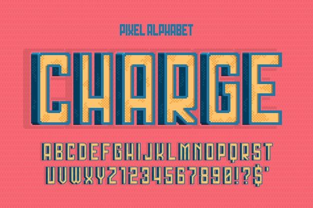 Conception d'alphabet vectoriel pixel, stylisée comme dans les jeux sur console. contraste élevé, rétro-futuriste. contrôle facile de la couleur des échantillons.