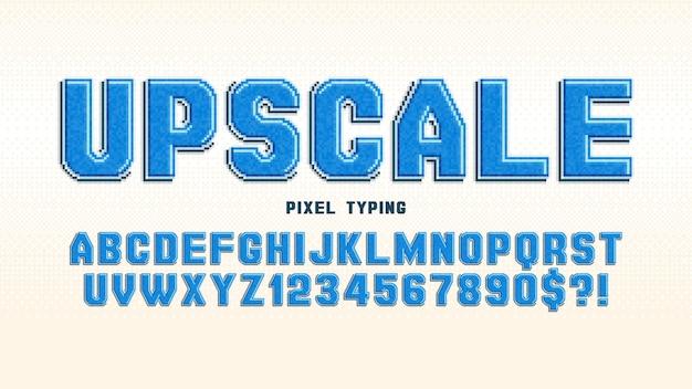 Conception d'alphabet vectoriel de pixels, stylisée comme dans les jeux 8 bits. contraste élevé et net, rétro-futuriste. contrôle facile de la couleur des échantillons. effet de redimensionnement.