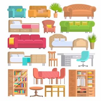 Conception d'ameublement de meubles de chambre à coucher avec literie sur lit à l'intérieur meublé de l'appartement et salle d'ameublement avec canapé fauteuil ou chaise set illustration isolé sur fond blanc