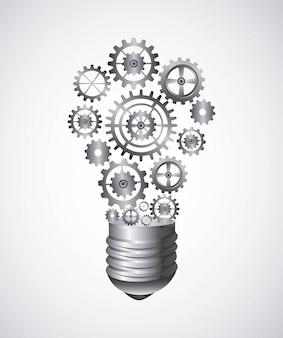 Conception de l'ampoule au cours de l'illustration vectorielle fond blanc