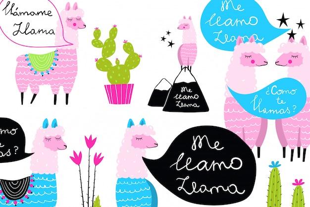 Conception amusante de llamas et de cactus de fond décalé pour des imprimés mignons.