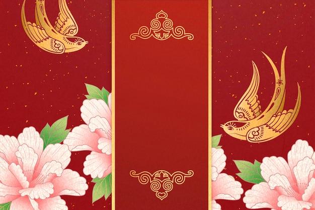 Conception de l'année lunaire avec hirondelle dorée et fleurs de pivoine rose