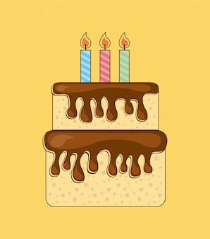 Conception d'anniversaire au cours de l'illustration vectorielle fond crème