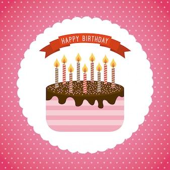 Conception d'anniversaire au cours de l'illustration vectorielle fond rose