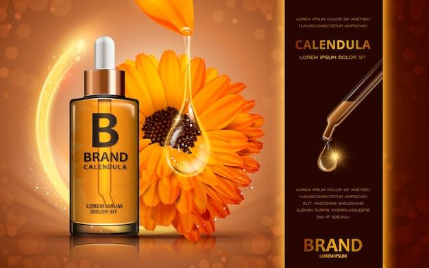 Conception d'annonces cosmétiques d'illustration 3d avec liquide pétillant et fleur