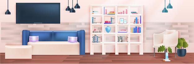 Conception d'appartement à la maison moderne d'intérieur de salon horizontale