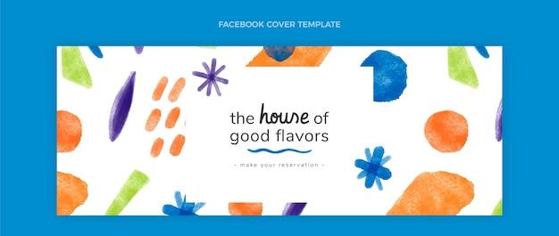 Conception à l'aquarelle de la couverture facebook de la nourriture