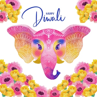 Conception aquarelle éléphant coloré diwali