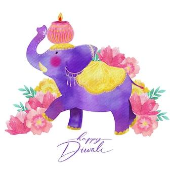 Conception aquarelle éléphant violet diwali