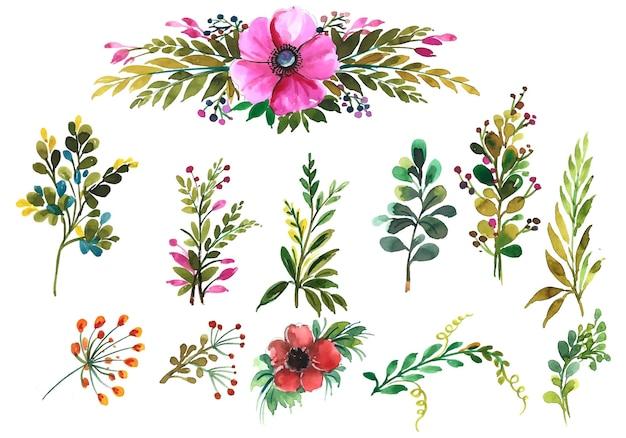 Conception aquarelle de jeu de feuilles florales dessinées à la main