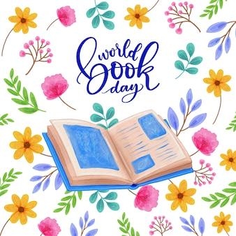 Conception aquarelle de la journée mondiale du livre