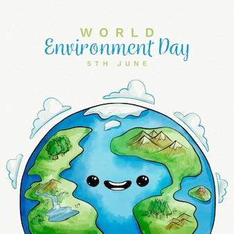 Conception aquarelle de la journée mondiale de l'environnement