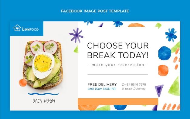 Conception à l'aquarelle de la publication facebook de la nourriture