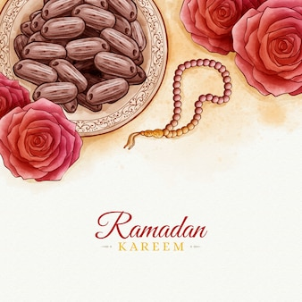 Conception aquarelle ramadan kareem