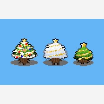 Conception d'arbre de noël de dessin animé pixel art.