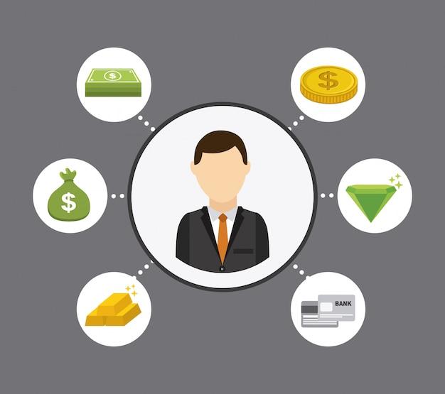 Conception de l'argent au cours de l'illustration vectorielle fond gris