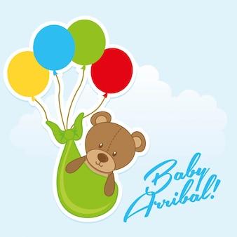 Conception d'arribal bébé sur illustration vectorielle fond ciel