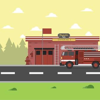 Conception d'arrière-plan caserne de pompiers