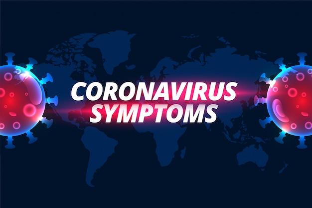 Conception de l'arrière-plan du texte des symptômes du coronavirus covid-19